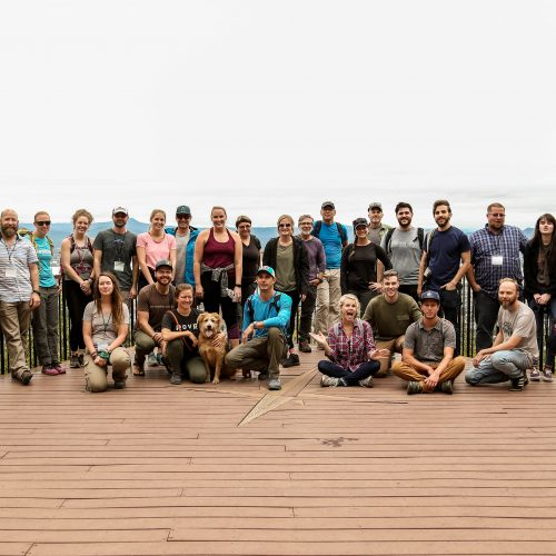 Post-event hike group photo at OMS 2018